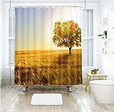 KJGTR Duschvorhang3D Greenwood Road & Weizen Feld Muster Duschvorhänge wasserdicht verdickt Bad Vorhänge für Badezimmer anpassbar