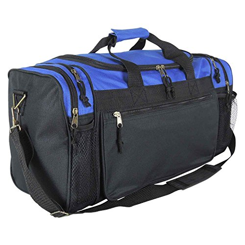 Dalix 20 Inch Sports Duffle Bag with Mesh and Valuables Pockets, Royal Blue