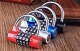 ダイヤルロック ナンバーロック 暗証番号 4桁 南京錠 鍵 補助錠 錠前 ロック スーツケース ドア 防犯 防盗 盗難防止 セキュリティ に (ブルー)