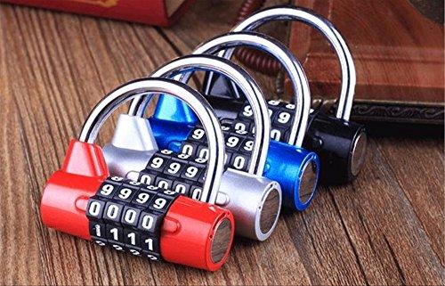 ダイヤルロック ナンバーロック 暗証番号 4桁 南京錠 鍵 補助錠 錠前 ロック スーツケース ドア 防犯 防盗 盗難防止 セキュリティ に (シルバー)