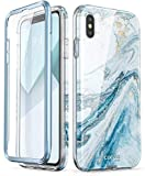 i-Blason Cosmo Series Designed for iPhone Xs Max Case 2018 Release, Full-Body Bumper Case with Built-in Screen Protector, Blue, 6.5'