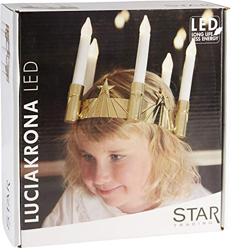 """LED Star\""""Luciacrown cm, 5 Lichter, material: Kunststoff, Farbe: gold/weiß ca. 17 x 19 cm, batteriebetrieben, mit vier Farben,"""