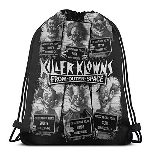 XCNGG Killer Klowns Mochila con cordón/Bolsa de cosméticos/Monedero/Pulsera/Collar/Diadema/Llavero/Nota Adhesiva