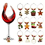 12 Pieces Christmas Wine Glass Charms,HusDow Christmas Wine Glass Markers Wine Glass Tags, Various Shapes for Christmas Party and Bar Table Decoration