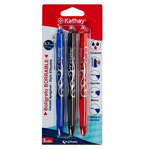 Kathay 86200199. Pack de 3 Bolígrafos Borrables, Negro, Azul y Rojo, Gel, Punta 0,7mm, Apertura Clic