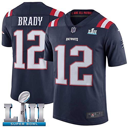 HXSON 12# Tom Brady New England Patriots Rugby Trikot Fußball Trikot-Herren Poloshirt Trainingshemden Kindersportbekleidung Mesh Schnelltrocknend Langarm Fans Sweatshirt-Royalblue-XL