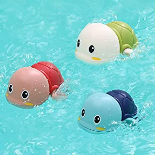 AMERTEER 3pcs Bath Swimming Turtle Toy for Baby Toddler Bathing Water Toy Cute Swimming Turtle Toys for Boys Girls