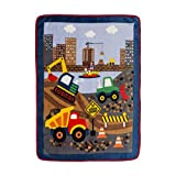 EVERYDAY KIDS Toddler Throw Blanket - 30' by 40' - Under Construction - Super Soft, Plush, Warm and Comfortable