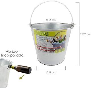 Imex El Zorro 5060012 Oryx 05060012 Cubo Zinc Metal Galvanizado Multiusos 8 litros, Abre botellas, 25 x 19 x 22 (alt.) cm 8 lts