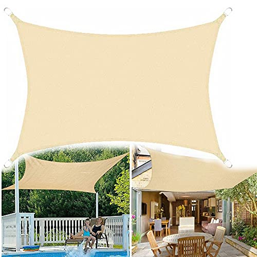 N\C Toldo impermeable de poliéster, resistente a la intemperie, duradero con cuerda libre, para patio, jardín, patio, patio, patio, patio, patio, pérgola, color crema, 3 x 5 m