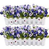 XONOR Piante di fiori artificiali – rose e boccioli di rosa in vaso per recinzione per interni, ufficio, decorazione principale (blu)