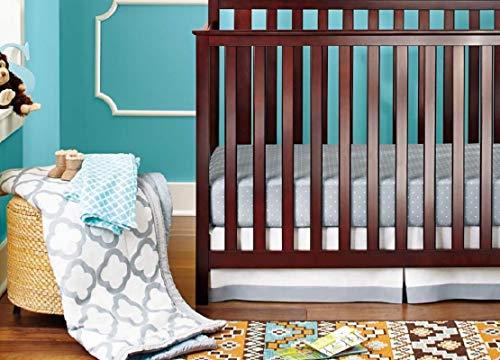 BAIGIO Juego de ropa de cama para bebé, 7 piezas, para cuna, protector de cuna, protector de cuna, 100% algodón, juego de ropa de cama infantil OekoTex (gris-A)