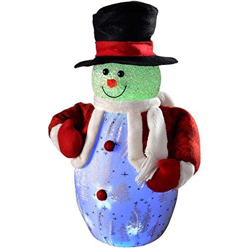 WeRChristmas - Decorazione Natalizia a Forma di Pupazzo di Neve Alto 45 cm, con Carillon e luci LED con Colori cangianti