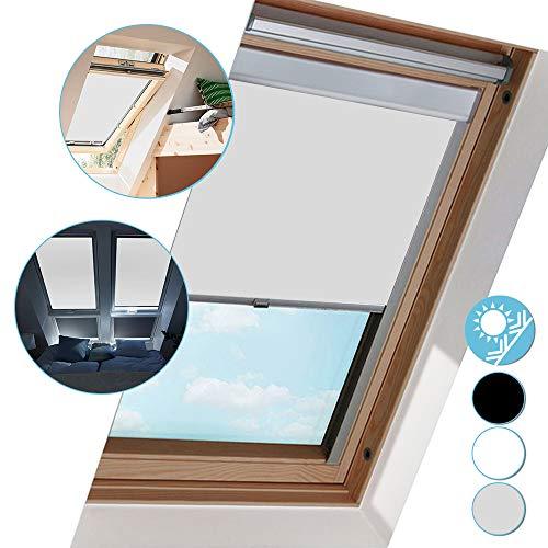 Hengda Verdunkelungsrollo Rollo mit Seitenschienen für Velux Dachfenster, Verdunkelungs-Rollo Fensterrollo, F04 Grau (49.3x74cm)