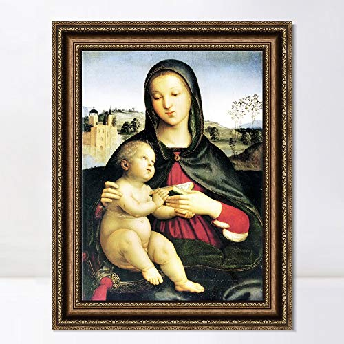 """INVIN ART Framed Canvas Art Giclee Print Madonna and Child with Book by Raphael/Raffaello Sanzio Wall Art Living Room Home Office Decorations(Vintage Embossed Gold Frame,20""""x28"""")"""