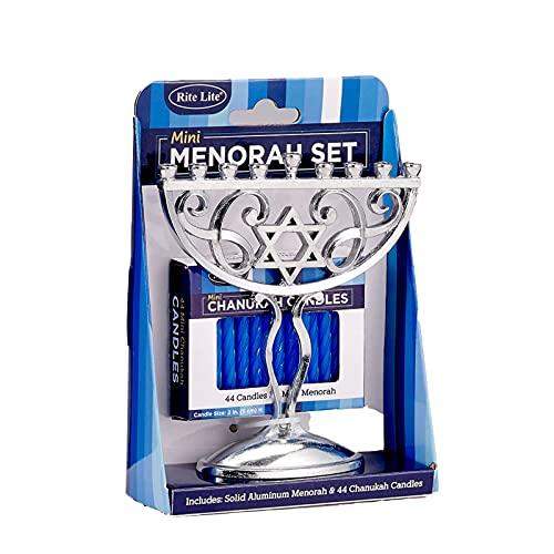 Rite Lite Silver Mini Menorah & Mini Chanukah Candles Set Blue Pack of 44 - Blue Menorah Candles Menorah Hannukah Gift