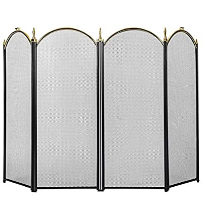 VIVOHOME 4 Panel 51.5 x 32 Inch Fireplace Screen Mesh Baby Safe Proof Fence Spark Guard Cover Ornate Wrought Iron Black Metal Fire Place Standing Gate from VIVOHOME