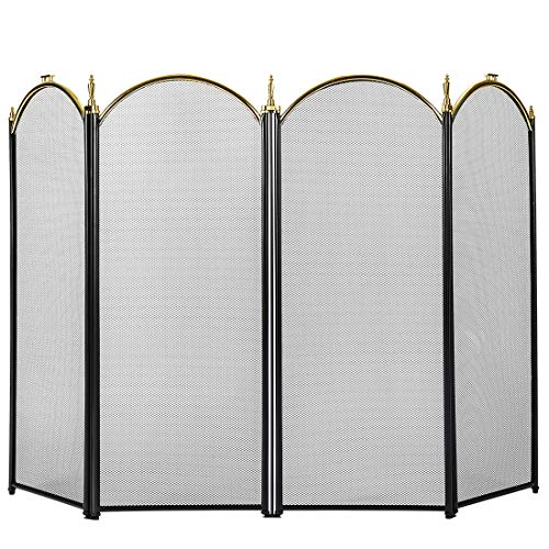 Best Deals! VIVOHOME 4 Panel Fireplace Screen Mesh Baby Safe Proof Fence Spark Guard Cover Ornate Wr...