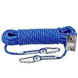 DROMEZ Corde d'escalade extérieure/Corde de Secours/Corde de Sauvetage de sécurité, Corde en polypropylène résistant à l'usure - diamètre 10 mm, Bleu (Taille: 80 m)
