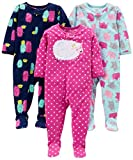 Simple Joys by Carter's Girls' 3-Pack Loose Fit Flame Resistant Fleece Footed Pajamas, Elephant/Lamb/Monster, 18 Months