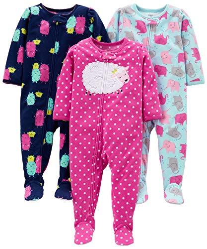 Simple Joys by Carter's pijama de forro polar suelto para bebés y niñas pequeñas, paquete de 3 ,Elephant/Lamb/Monster ,24 Meses