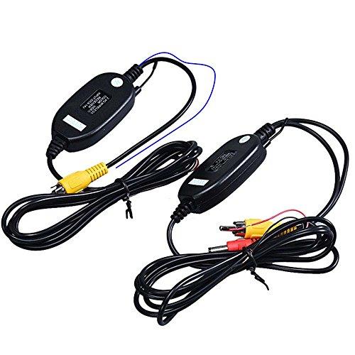 Navinio Wireless Farb Video Transmitter und RCA Reveiver Sender Empfänger für Auto Kfz Rückfahrkamera Frontkamera (Wireless Funk Transmitter/Receiver)(Type A=with Blue Reverse Cable)