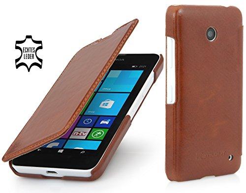StilGut UltraSlim Hülle, Tasche in Book Type Stil aus Leder für Nokia Lumia 630/630 Dual SIM, Cognac
