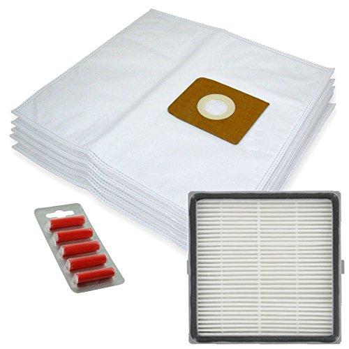 Spares2go Sacs d'Chiffon de nettoyage en microfibre + H13 filtre HEPA pour aspirateurs Nilfisk King 500 Series (lot de 5 + cartouche de filtre + désodorisants)