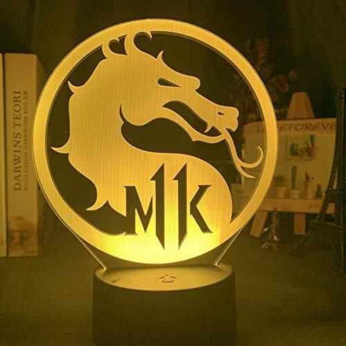 Lámpara De Ilusión 3D Luz De Noche Led Juego Infantil Mortal Kombat 11 Logotipo Para Decoración Del Hogar Colorido Para Niños Decoración De Dormitorio Lámpara De Mesa Mejor Cumpleaños Para Niñ