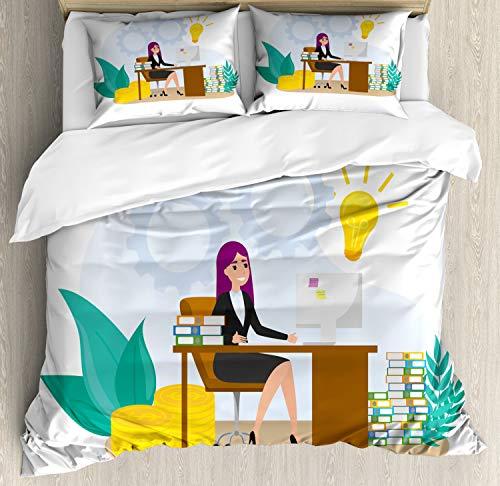 ABAKUHAUS Girl Boss Dekbedovertrekset, Vrouw zit aan de balie, Decoratieve 3-delige Bedset met 2 Sierslopen, 230 cm x 220 cm, Veelkleurig