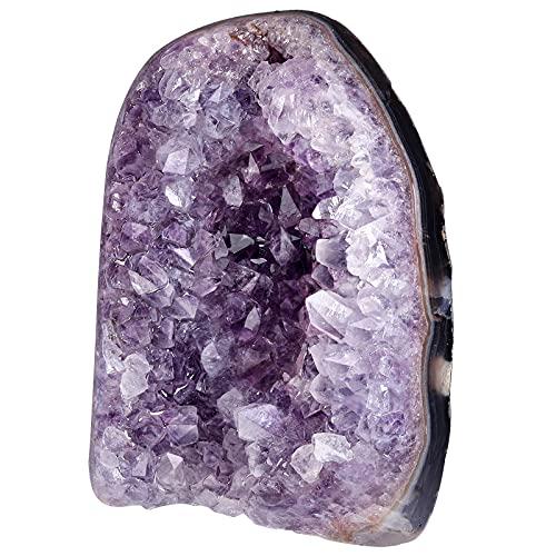 Nupuyai Amatista druse grande de cristal en bruto para decoración, amatista natural, segmento de druso, piedra de cuarzo (600 g - 700 g)