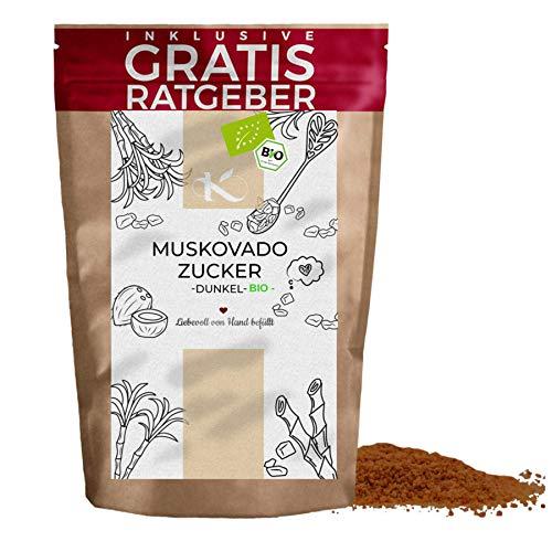 Muscovadozucker BIO 900g | natürlicher Zuckerersatz inkl gratis Ratgeber | hochwertiger Zucker aus der Zuckerrübe mit Karamelaroma zum Backen