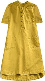Vestido de Bolsillo a Cuadros Mujer,Vestido Camisero Retro De Manga Larga Moda Otoño E Invierno Camisa Casual Vestido De G...