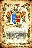 Lámina pergamino Escudo heráldico de 1 Apellido con el Origen del linaje y Sus probanzas de nobleza. Impresión en DIN A4 de Aspecto Envejecido.