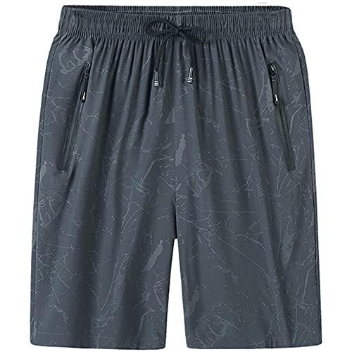 UKKD Herrenshort - Pantalones cortos para hombre, talla grande, 6 x 7 x 8 x 8 cm, secado rápido, para verano, transpirable, ropa deportiva, para playa, pantalones cortos para hombre, color gris, Xxxl