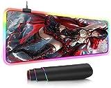 BOIPEEI RGB Mouse Pad Game Anime Girl Gaming RGB RGB Mouse Pad Large LED Fashion Glow Big Mice Mat for Mac Pc Laptop Rubber Base Mouse Mat(30x80cm)