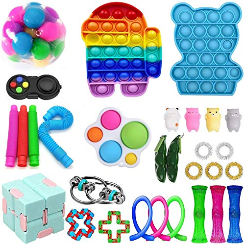 スクイーズ玩具 減圧玩具 Stress Relief Fidget Toys インテリジェンス発展 知育おもちゃ そわそわおもちゃ プッシュポップバブル 減圧グッズ 自閉症特別支援 ボードゲーム 子供 大人兼用 (30PC)