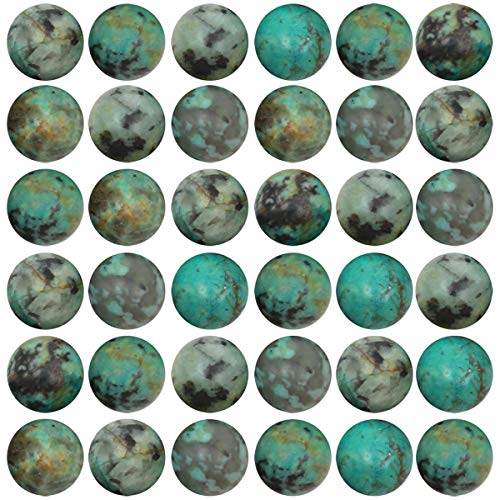 Natural Stone Beads 100pcs 8mm African Turquoise Round Genuine Real Stone Beading Loose Gemstone Hole Size 1mm DIY Charm Smooth Beads for Bracelet Necklace Earrings Jewelry Making (African Turquoise)