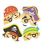Baker Ross Bastelset für Schaumstoffmasken - Piraten - zum Basteln für Kinder ideal für Kindergeburtstag und Karneval - 4 Stück