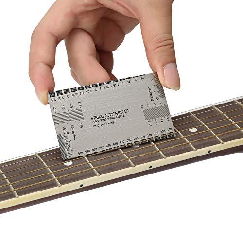 Strumento multifunzione per righello con calibro a più lati e righello per calibro, con guida per l'utente, strumento Luthier per chitarre elettriche, acustiche e basse, pollici e millimetri