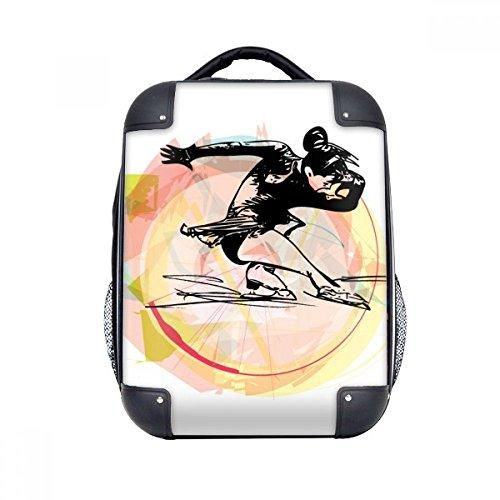 """DIYthinker Deporte de invierno patinaje artístico acuarela Ilustración del estuche rígido de transporte para hombro Niños Mochila 15"""" Regalo"""