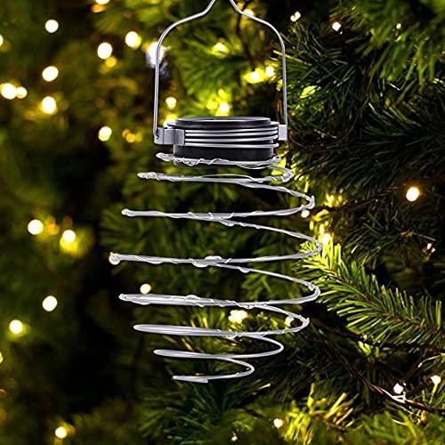 MRZJ Pack de 5 lámparas LED colgantes decorativas, lámpara solar en espiral creativa de hierro, farolillos de luz para exterior, jardín, patio, porche, decoración