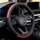 LUYED ハンドルカバー Mサイズ ハンドル 赤 外径37.5~38.9㎝のミニバン 1BOX RV 乗用車 普通自動車 ステアリングカバー 革製