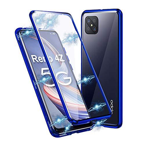 Ellmi Funda para OPPO Reno 4Z 5G, Adsorción Magnética Parachoques de Metal con 360 Grados Protección Case Cover Transparente Ambos Lados Vidrio Templado Cubierta (Azul)