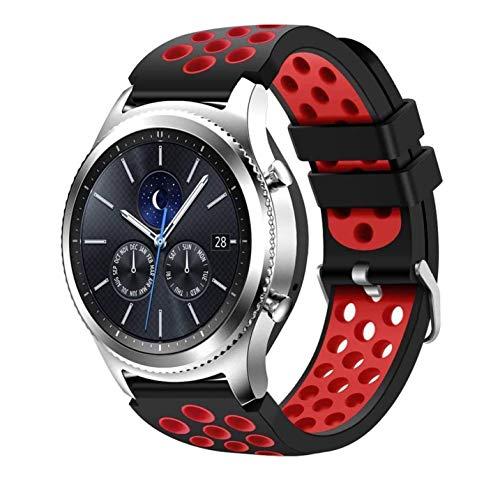 kytuwy Armband mit Galaxy Watch 3 45mm - Gear s3 Armband, Smartwatch Ersatzarmbänder 22mm, Silikon Sportarmband für Galaxy Watch 46mm /Gear S3 Classic/Gear S3 Frontier Smartwatch(Schwarz&Rot.)