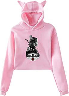 Womens The Hunger Games Mockingjay Poster Umbilicus with Hood Cat Ears Long Sleeve Fashion Fleece Black