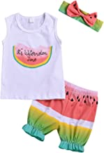 Summer Toddler Baby Girl Clothes Watermelon Sleeveless Shirt Tank Top and Shorts Bowknot Headband Short Outfit Sets