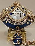 Something blue for bride from best friend Maid Of Honor Gift FABERGE Egg MUSICAL caja de la baratija decorativa del hogar para la decoración del dormitorio regalos azules para las mujeres