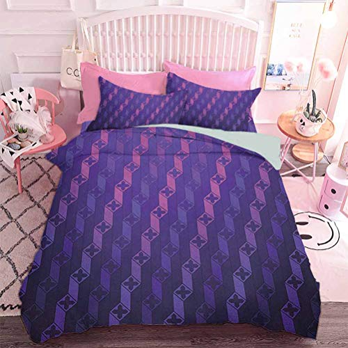 Comforter Bedding Set 3pcs Stairs Like Modern Futuristic Minimalist Squares with Cross on Top (3pcs, Queen Size) No Insert