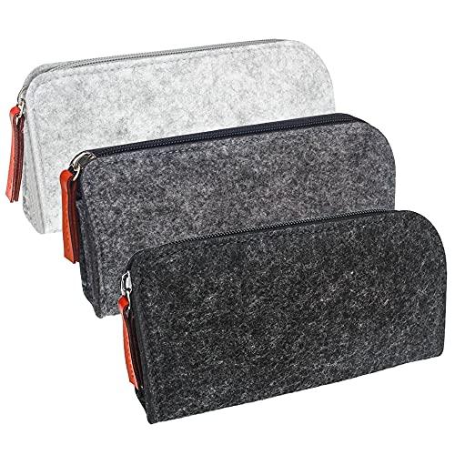 ZDNT Filz-Federmäppchen, multifunktionale Filztasche, für Schreibwaren, mit Reißverschluss, Aufbewahrung von Federmappen, Kosmetika, kleinen Objekten und anderen Schulbedarf, 3 Stück
